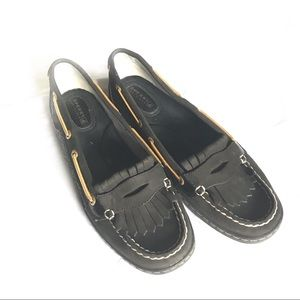 Sperry Top Sliders Black and Gold